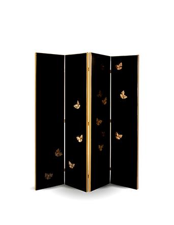 euphoria floor screen koket black with gold butterflies