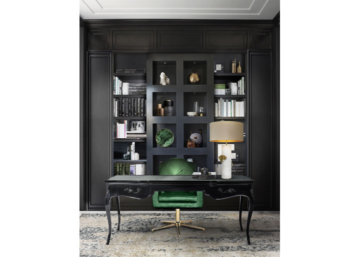 black office interiors with emerald green desk chair accent koket