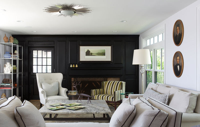 traditional living room with wing back chair by Keith Baltimore