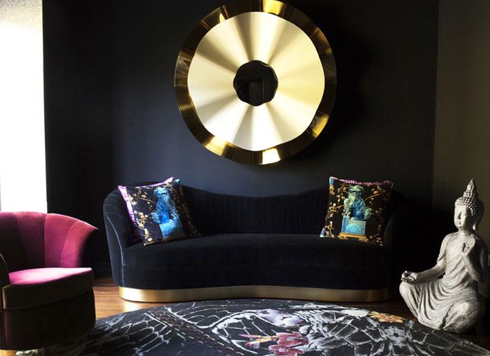 black furniture koket living room design besame chair kelly sofa reve mirror
