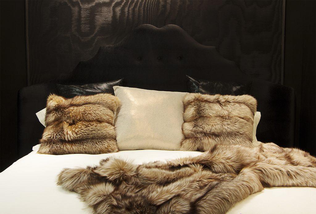 black bedroom fur pillows and throw koket