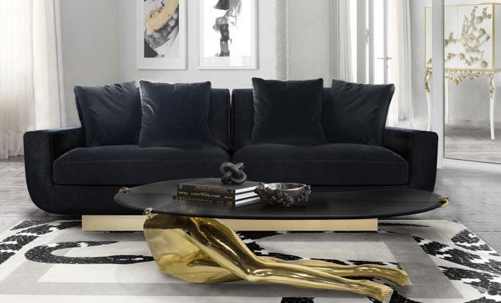 luxurious house living room koket sofia black velvet sofa, tabu legs coffee table, spellbound white and gold bar cabinet