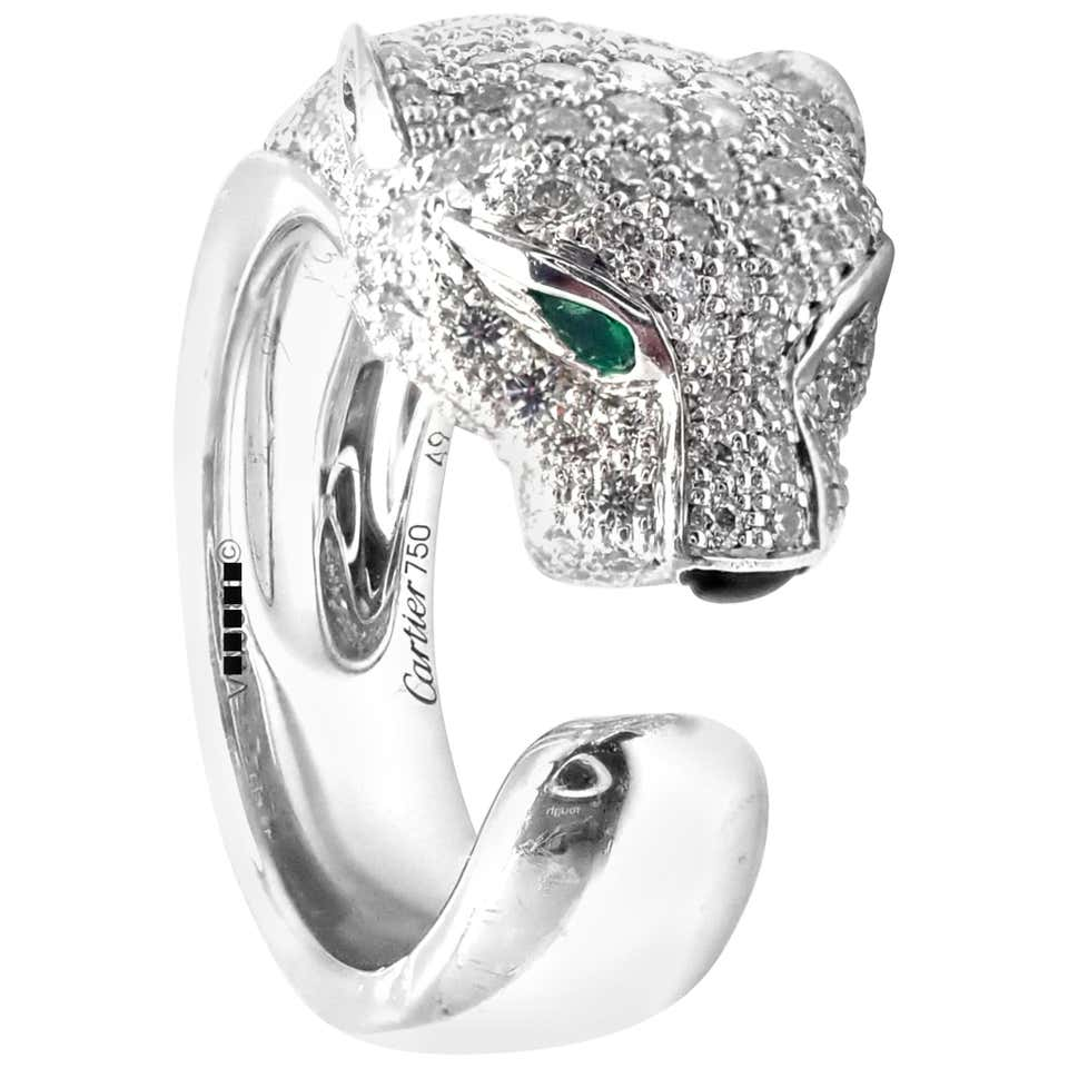 Cartier Panther Panthere Diamond Emerald Onyx White Gold Band Ring from 1STDIBS