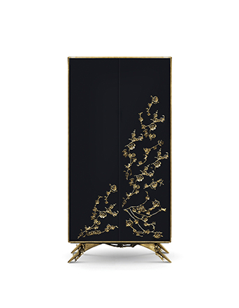 spellbound armoire cabinet black and gold orchid