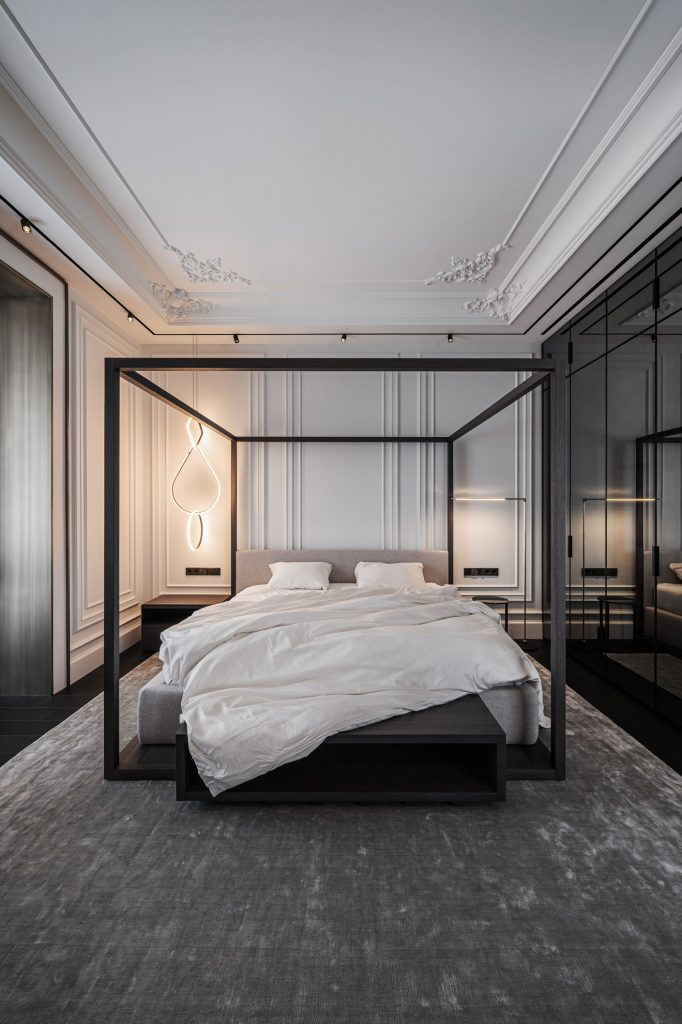 guest bedroom with italian furniture and classic molding by yodezeen
