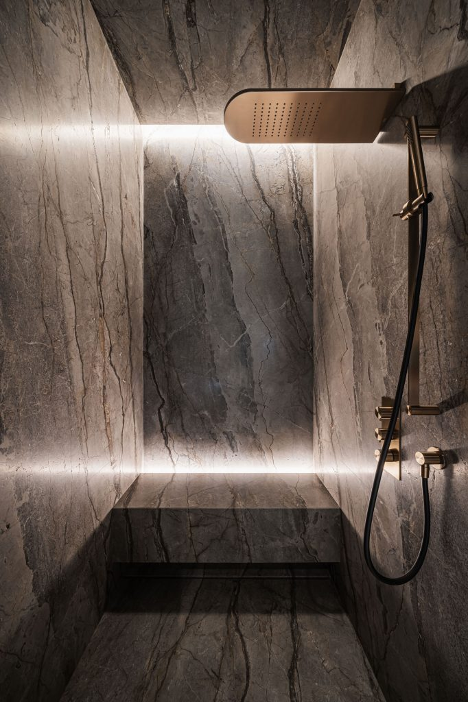 marble shower by yodezeen