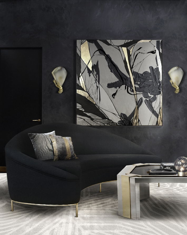 Take your home bar design to the next level with a glamorous lounge area. Interior design by KOKET - vamp sofa muse sconces black interiors