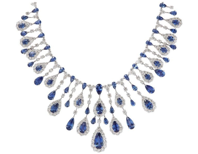 1st dibs sapphire diamond necklace couture bridal jewelry