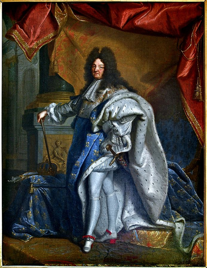 history of high heels Portrait of Louis XIV of France by Hyacinthe Rigaud, 1701, Musée Condé