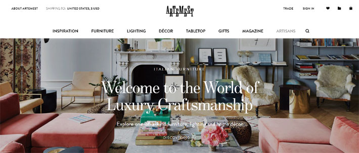 Artemest best online furniture stores for luxury home decor