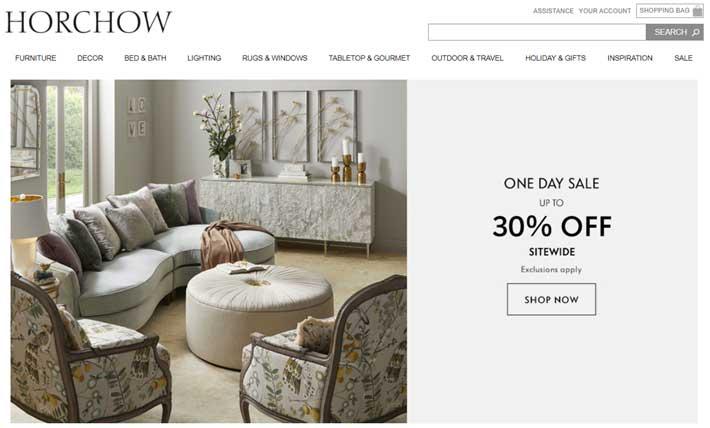 luxury home decor site horchow
