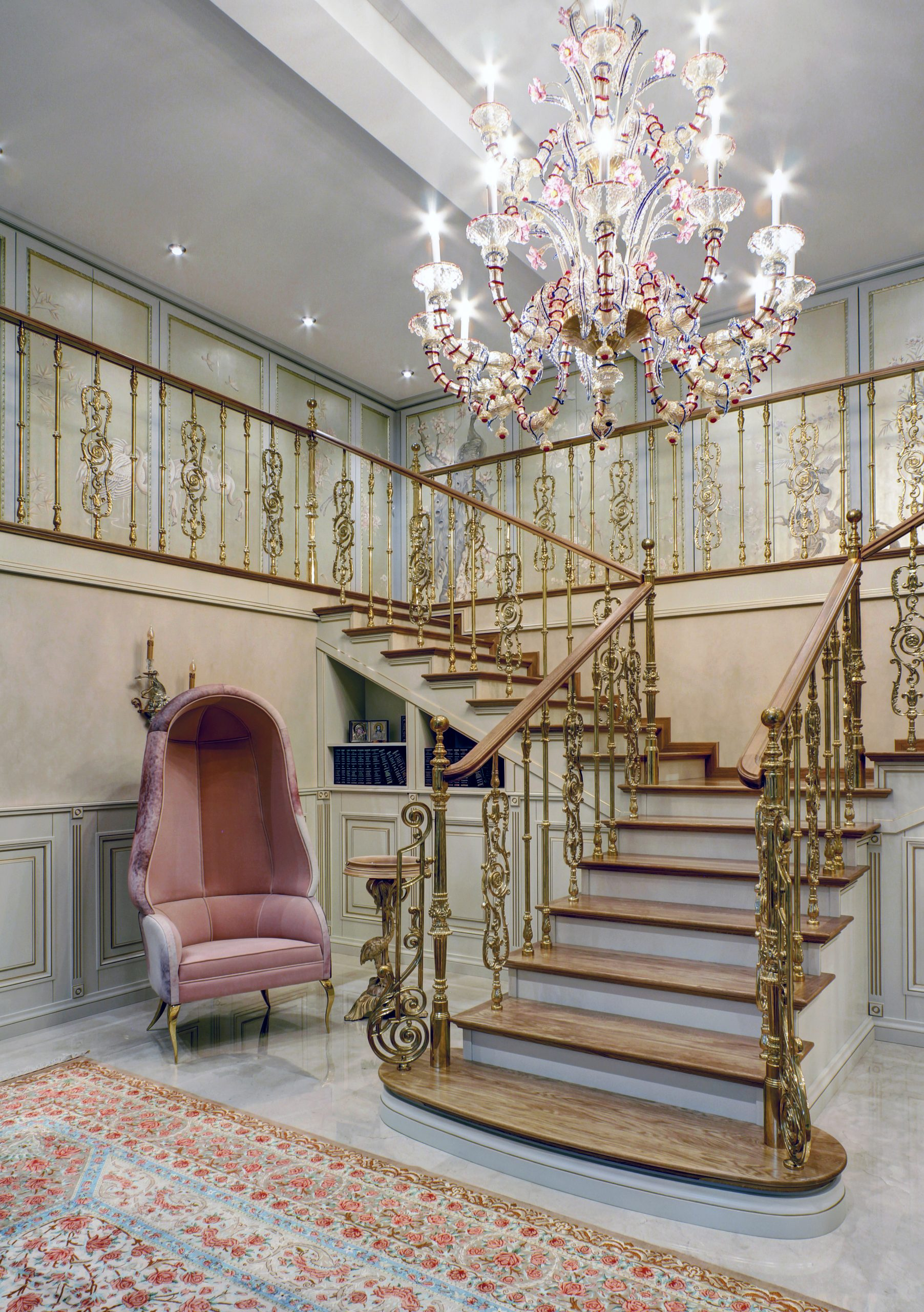 drapesse chair koket KRAFT Foyer Staircase ornate luxury interior