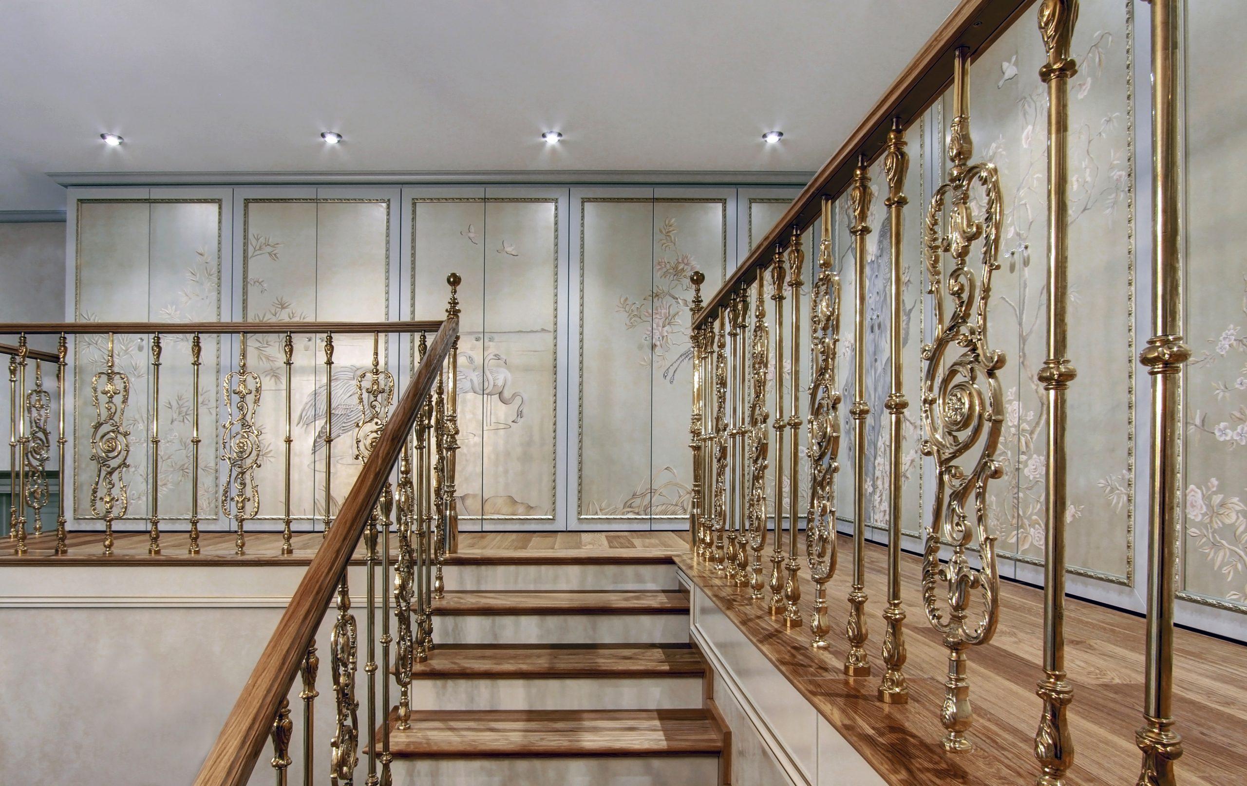 Baroque gold Staircase ornate interior design