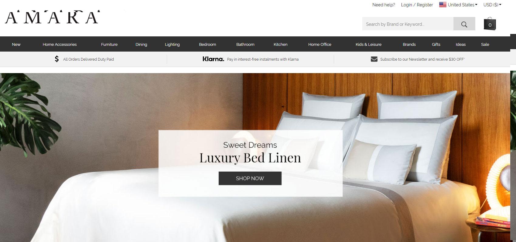 amara luxury home decor online