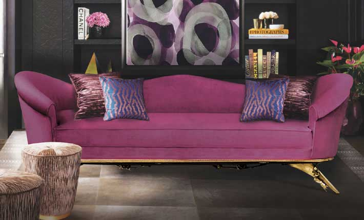 bold colors interior design and fashion beautify your home koket interior colette sofa tresor pouf pink and black