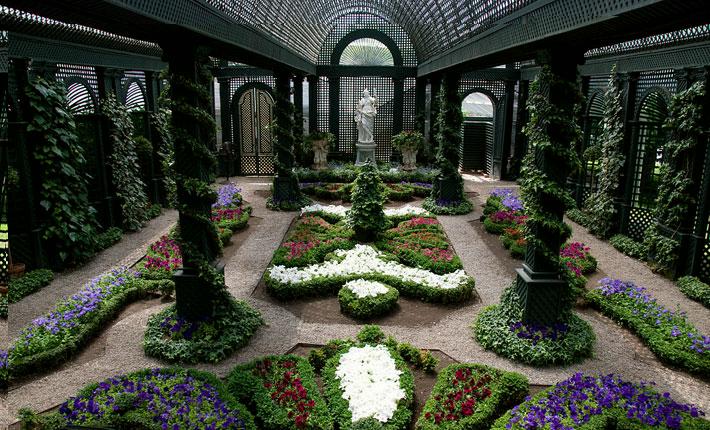 luxury garden room backyard greenhouse Indoor Display Gardens at Duke Gardens, in New Jersey