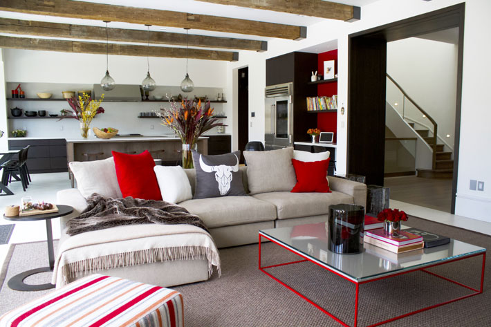 noda designs family room rustic modern red white