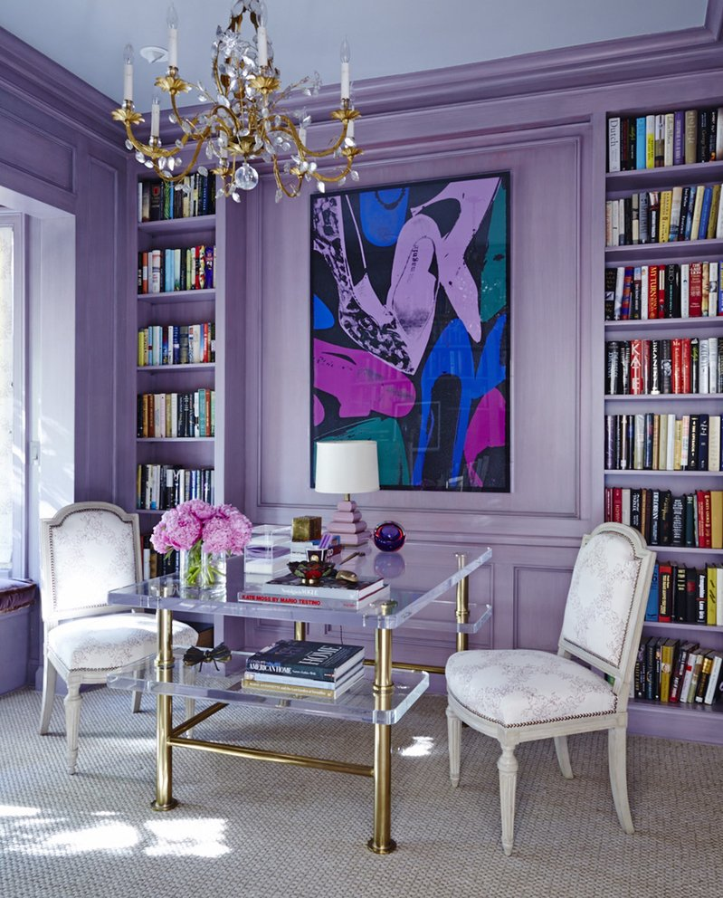 Home office library in Bel Air, CA by Nathan Turner Inc.