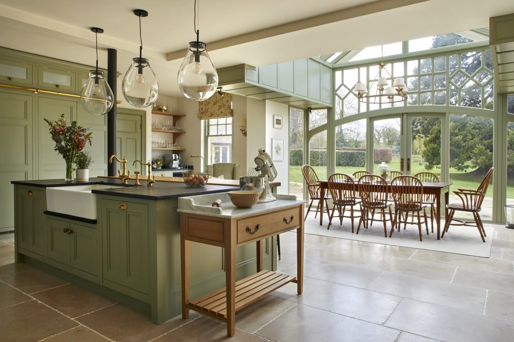 Laura Passey Interiors luxury Kitchen dr Green rustic