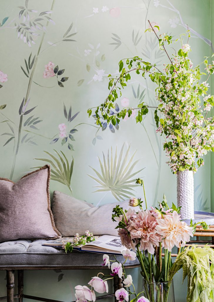 Handpainted bespoke mural by Cecelia Claire palm leaves green nature inspired
