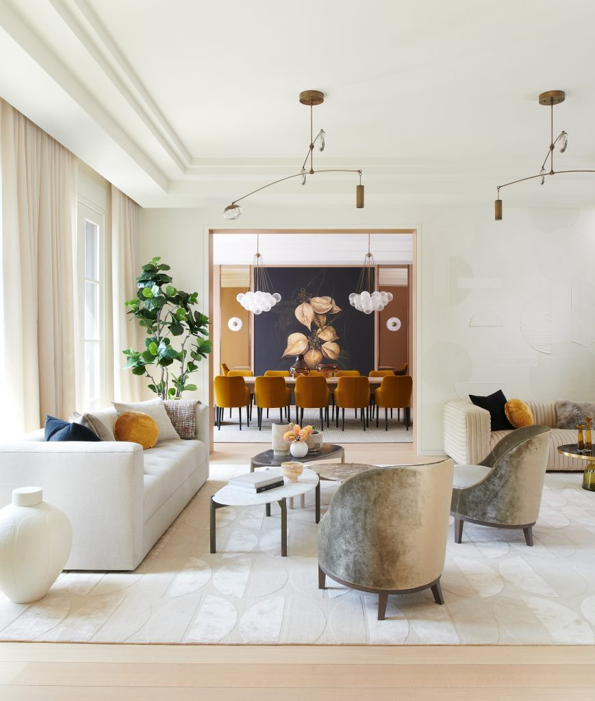 beest interior photographers Photo by Alex Lukey of a luxury neutral tone modern living room and dining room interior designed by Samantha Farjo