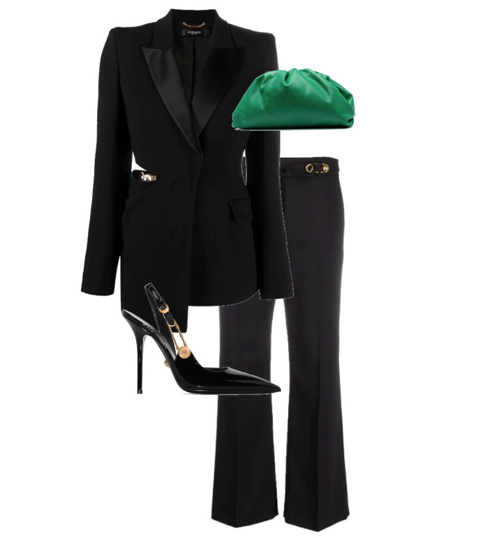 spring fashion trends 2021 How to style - all Black Blazer, Pants & Shoes by Versace and Bag by Bottega Veneta
