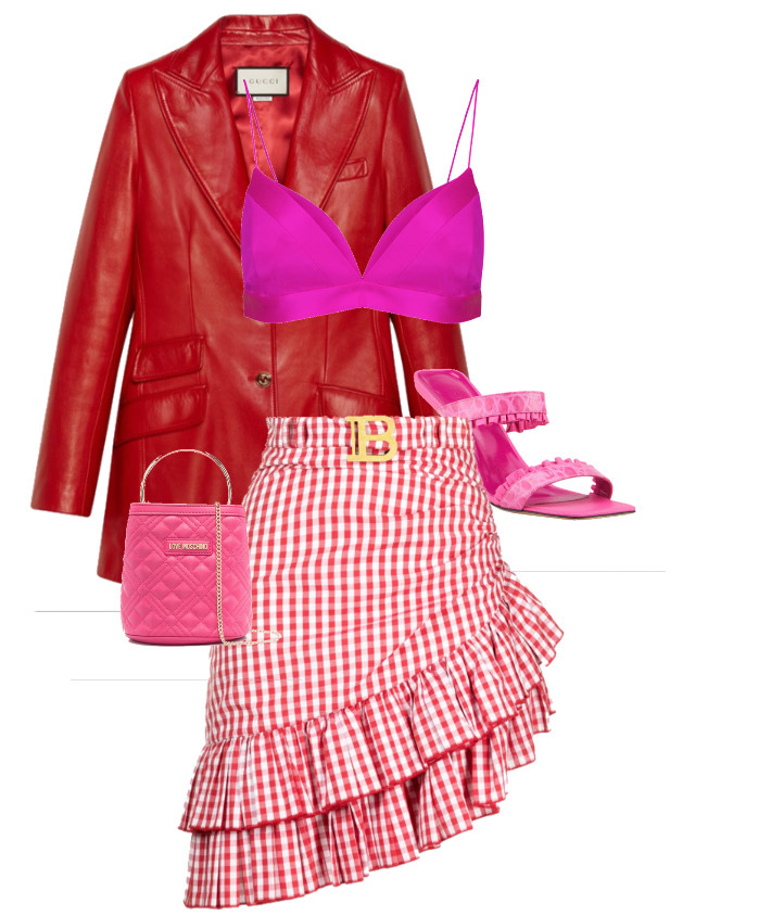 How to style - bra and bralettes Blazer by Gucci, Top by Alex Perry, Skirt by Balmain, Shoes by By Far and Bag by Moschino