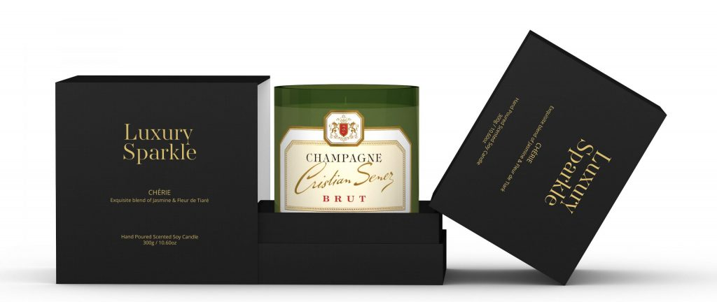 Luxury Sparkle Candles France Champagne Cristian Senez Grande Reserve Candle Packaging