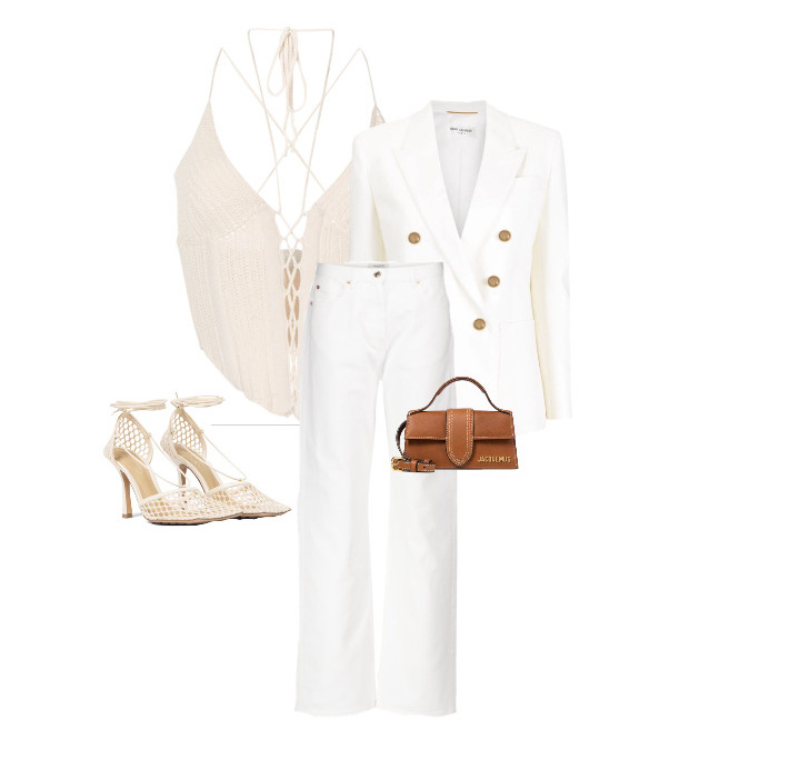 spring fashion trends 2021 How to style - crochet Top by Dion Lee, Blazer by Saint Laurent, Jeans by Valentino, Bag by Jacquemus and Shoes by Bottega Veneta