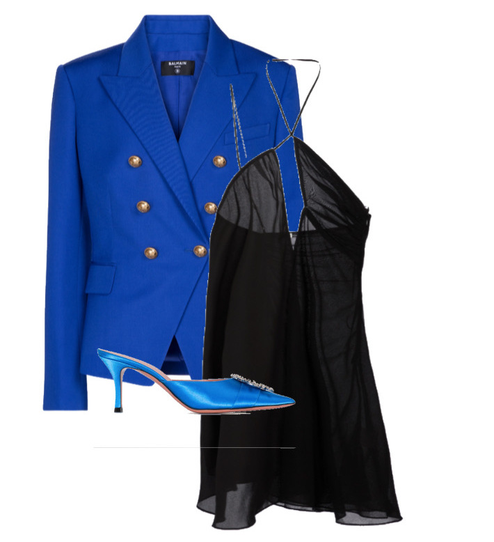 spring fashion trends 2021 how to style cut-outs Blazer by Balmain, Dress by Nensi Dojaka and Shoes by Amina Muaddi