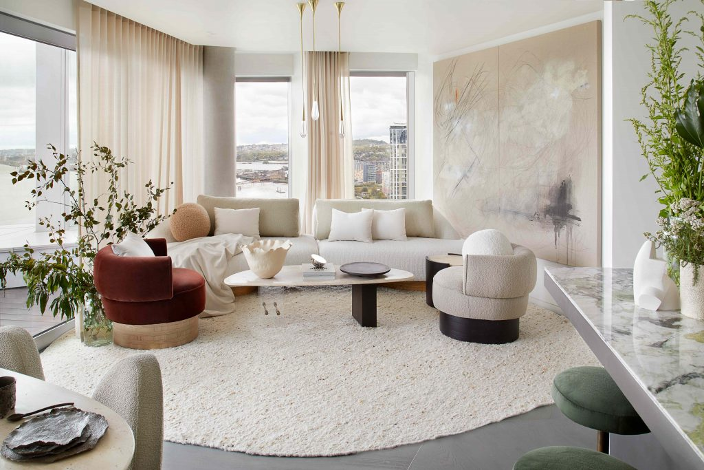 luxury living room design Greenwich Peninsula design by DH Liberty tear drop pendant lights