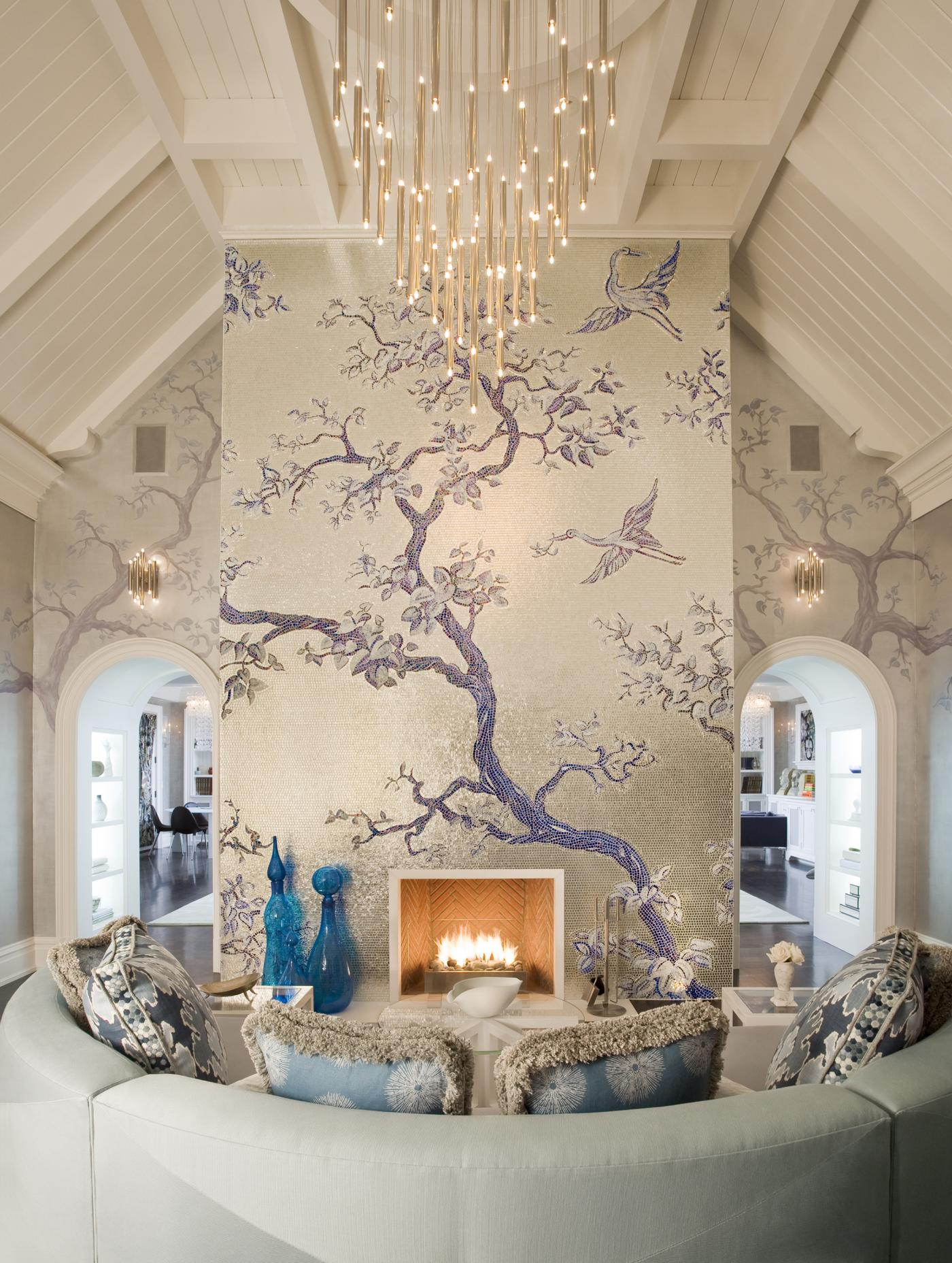 Tile and chandelier both bling in this gorgeous living room by Duan Curry