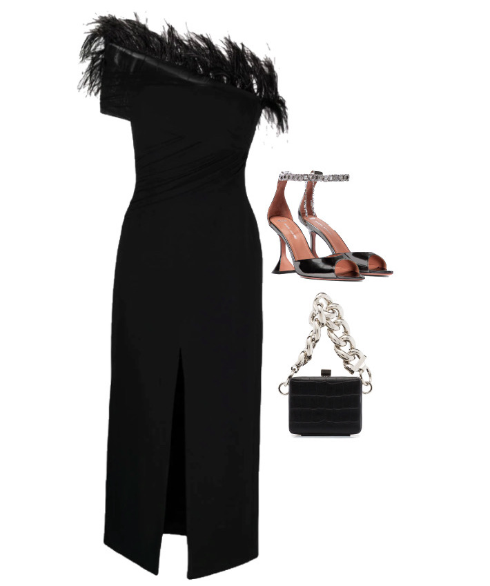 How to style - Feathers Dress by David Koma, Bag by 16Arlington and Shoes by Amina Muaddi