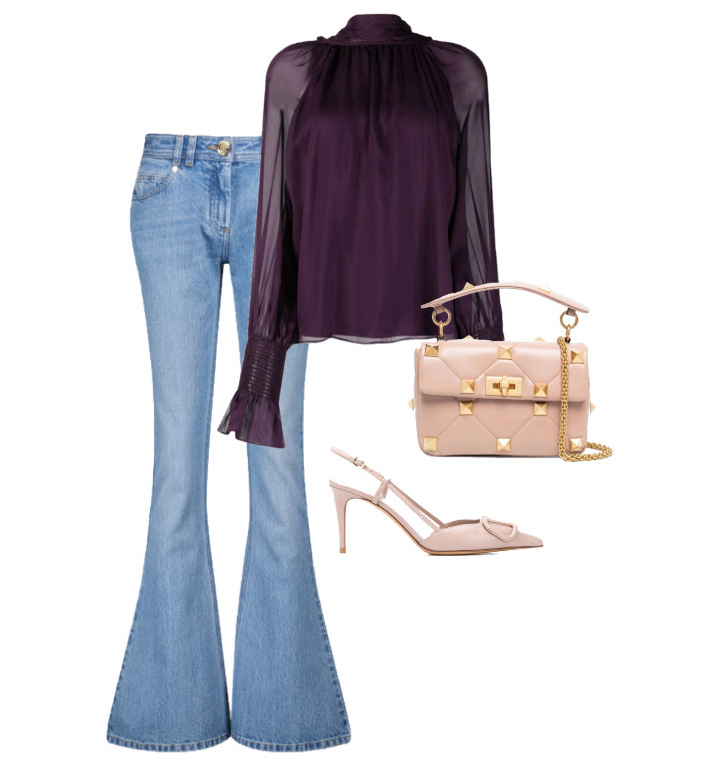 spring fashion trends 2021 How to style - Flared Jeans Jeans by Balmain, Blouse by Temperley London and Bag & Shoes by Valentino