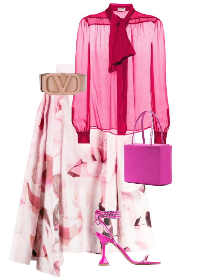 Skirt by Alexander McQueen, Blouse by Saint Laurent, Belt by Valentino and Shoes & Bag by Amina Muaddi bold colors in fashion