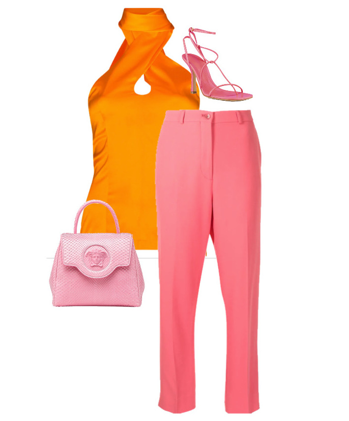 spring fashion trends 2021 How to style - halterneck Pants by Etro, Top by Materiel, Shoes by Bottega Veneta and Bag by Versace