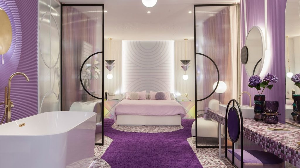 purple and white feminine bathroom design by in out studio