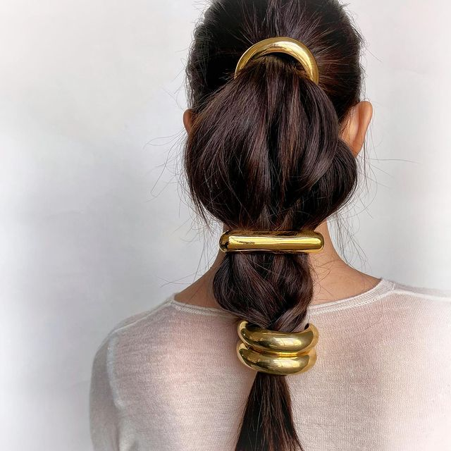 lelet ny luxury hair pieces pony tale accessories gold jewelry