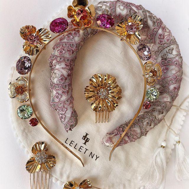 lelet NY spring 2021 luxury hair accessory brand - gem headband lace floral hair clips