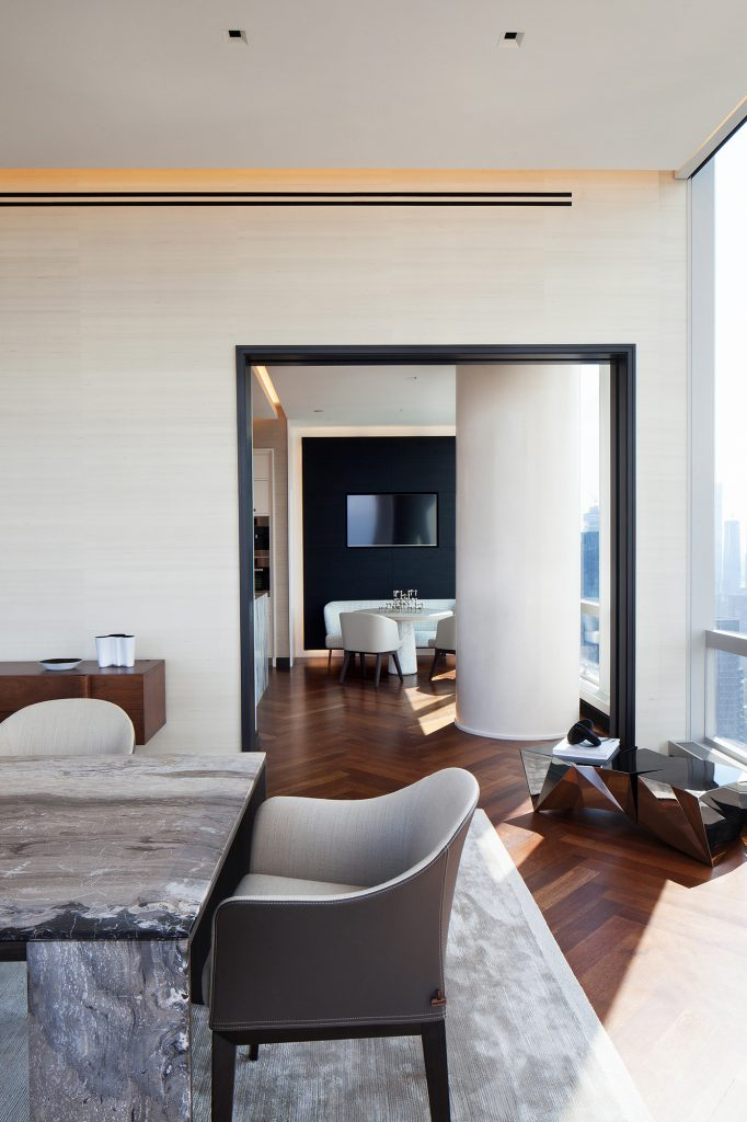 Photo by Marietta Leung of a private residence interior at One57 NYC designed by Jasmine Lam