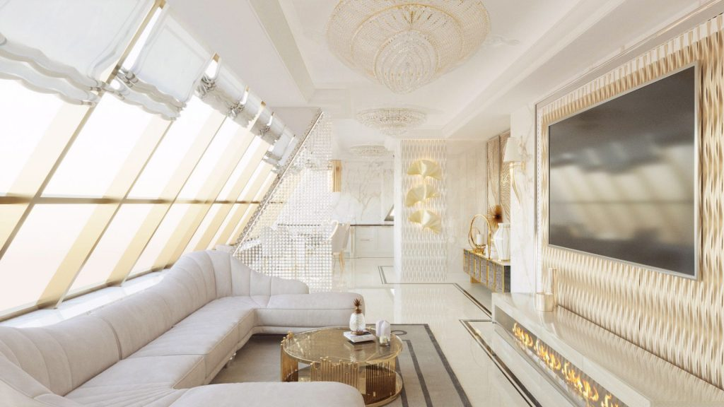 Interior by Palissandre white and gold luxury living room