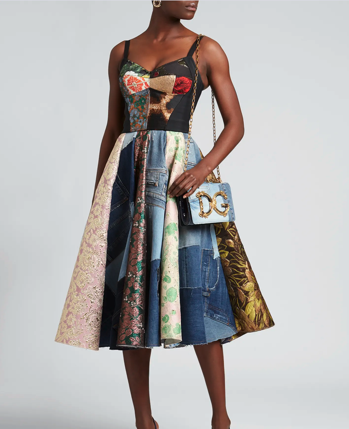 DOLCE&GABBANA Patchwork Cropped Bustier Top