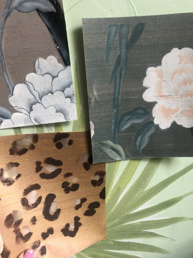 bespoke interiors handpainted wall paper wallcoverings silk cecelia claire