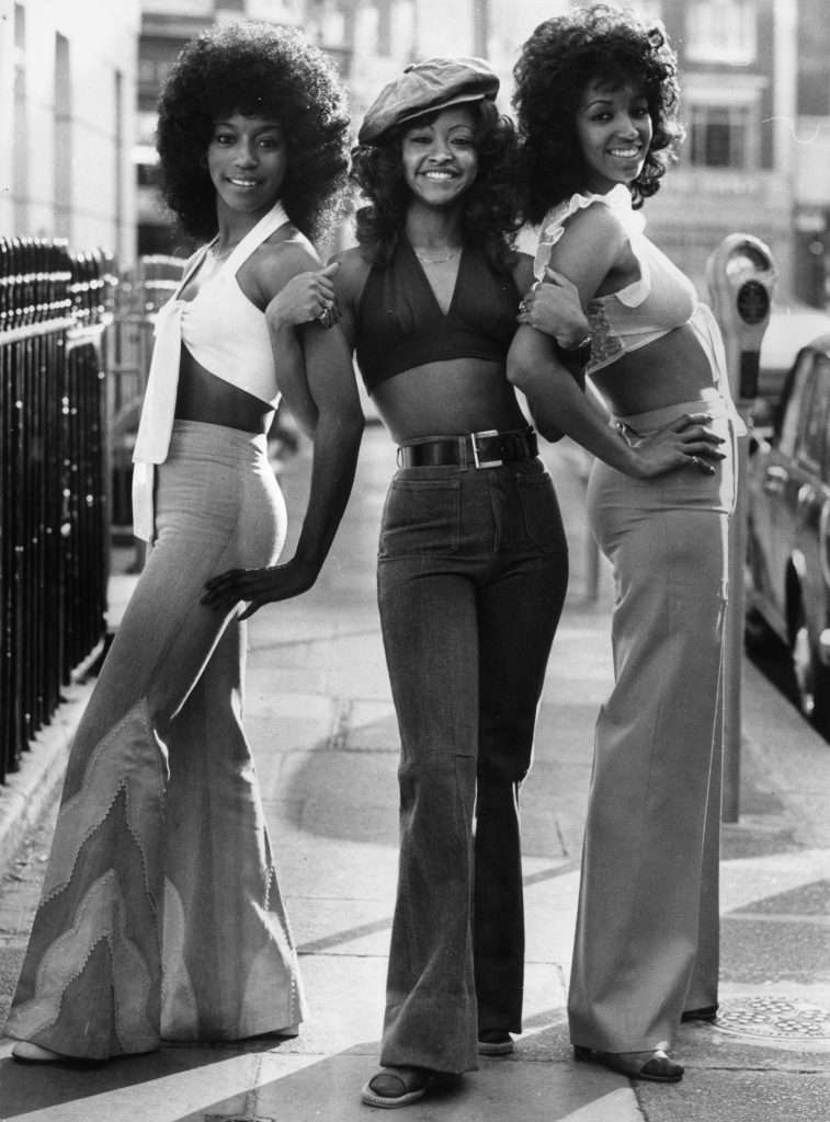fashion empowered women The Three Degrees (Sheila Ferguson, Valerie Holiday, Fayette Pickney), an American female singing group pictured in a London street.   (Photo by Tim Graham/Getty Images)