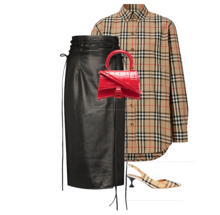 spring fashion trends 2021 How to style - strings Skirt by 16Arlington, Shirt & Shoes by Burberry and Bag by Balenciaga