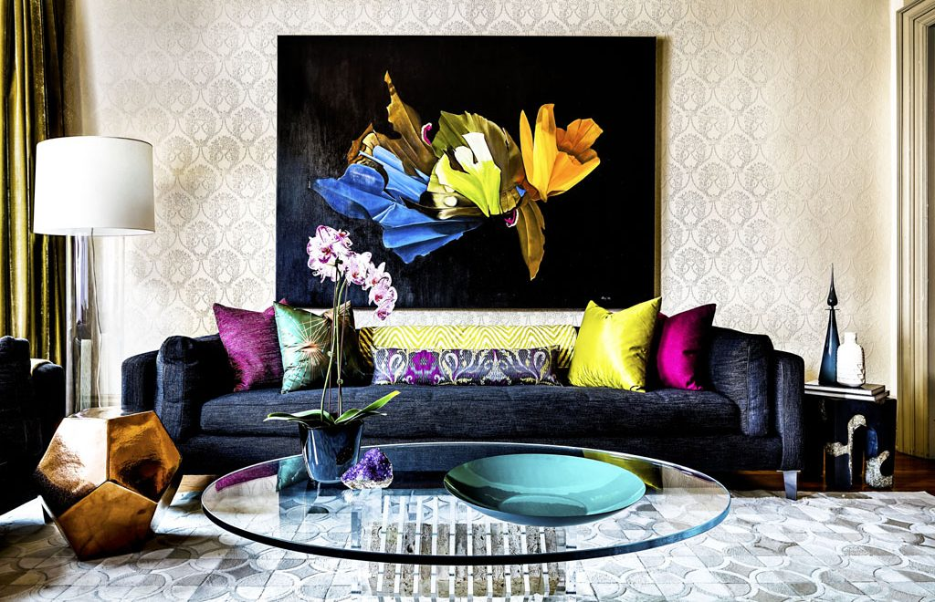 Toronto Interior Design Group Yanic Simard living room design pops of color