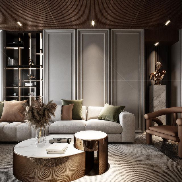 luxury living room Interior design by Ahmed Hussein bookcase