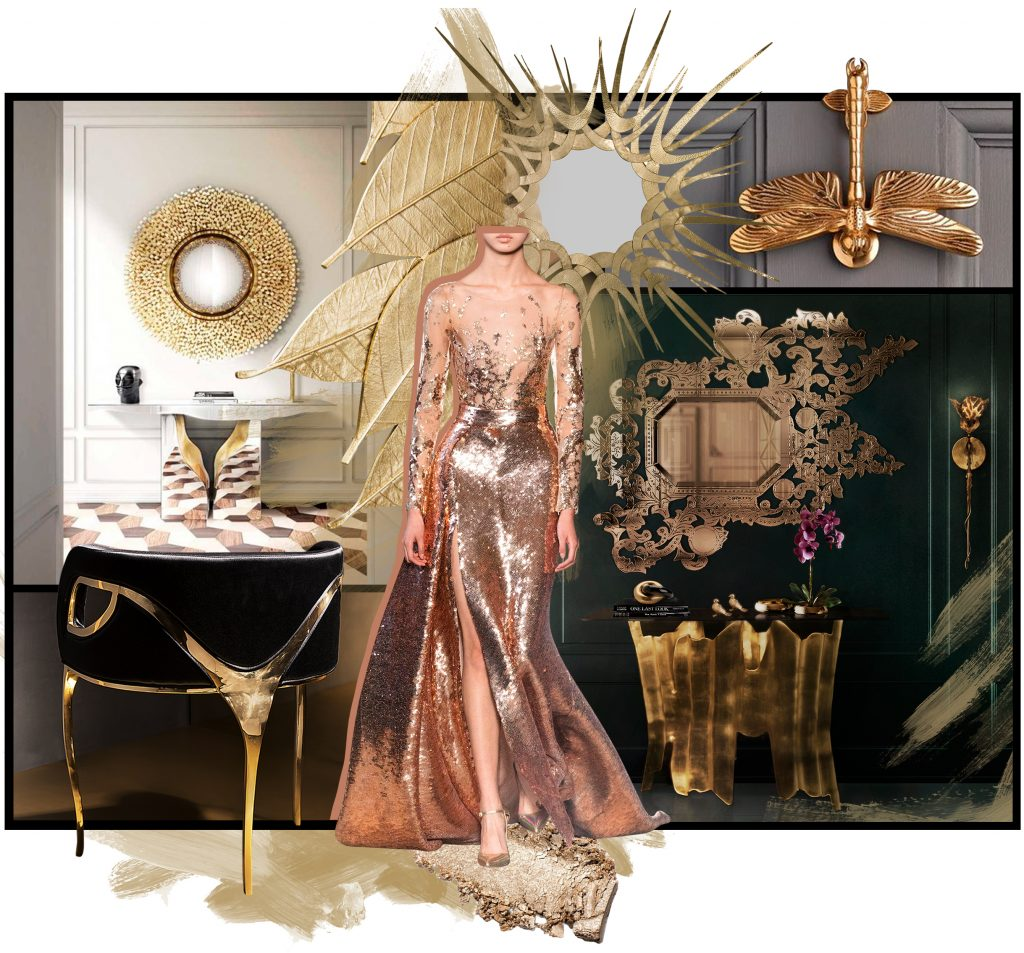 metal decor feminine vibes koket gilt mirror chandra chair