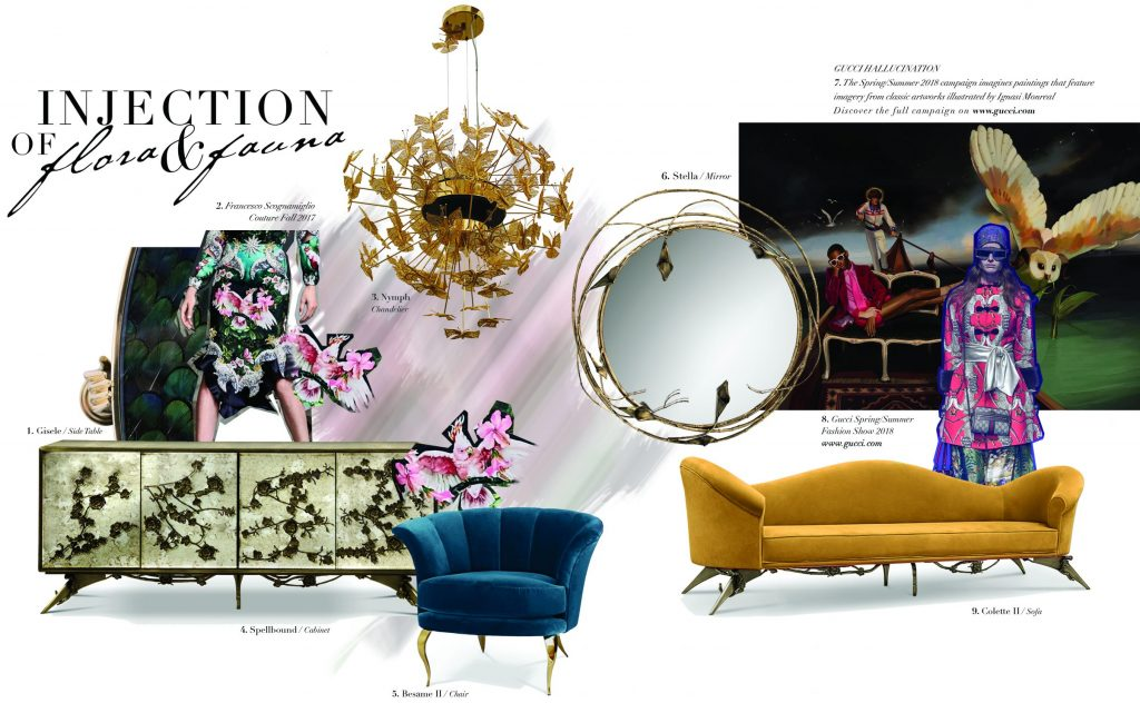 Floral inspiration and decor by KOKET mirror floral cabinet butterfly chandelier lily mirror