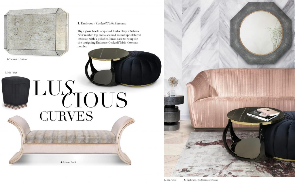 luscious curves by koket in soft pinks and blacks antique mirror